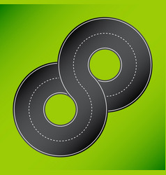 8 shape road 8 shape road on green vector image