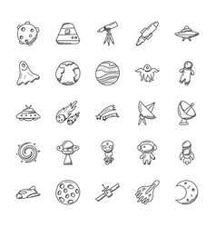 a pack of space and aircraft icons vector image