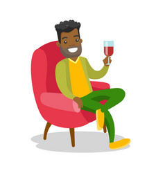African-american man drinking wine in the chair vector