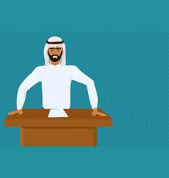 Arab business man or politician leading speech vector