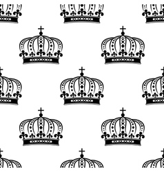 black royal crown seamless pattern vector image