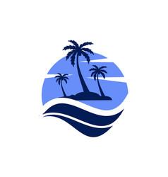 blue island icon logo vector image