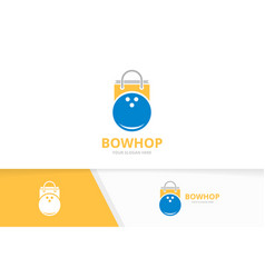 Bowling and shop logo combination game and vector