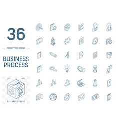 business and management isometric line icons 3d vector image