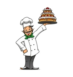 Cartoon french chef with chocolate cake vector image