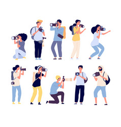 cartoon photographers people photograph vector image