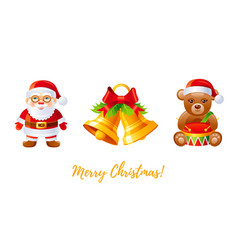 christmas icon set cartoon santa claus jingle vector image