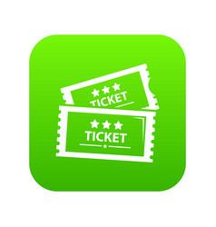 cinema ticket icon green vector image