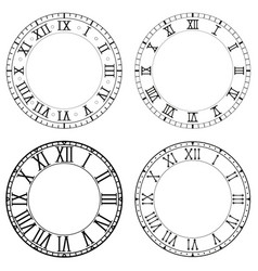 Clock face blank white clock with roman numerals vector