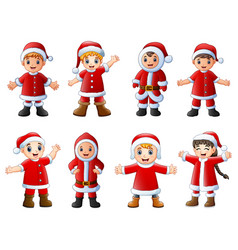 Collection of christmas santa claus kids on white vector