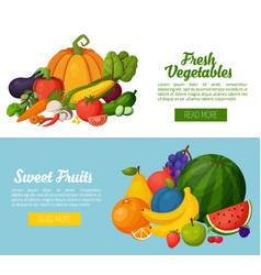colorful fruits and vegetables banners vector image