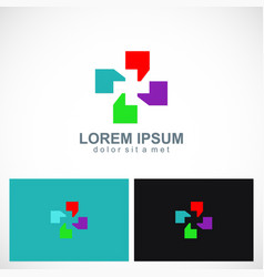 coma colorful shape colorful circle logo vector image