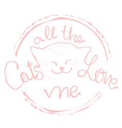 cute cat hand drawn stylish cartoon animals vector image