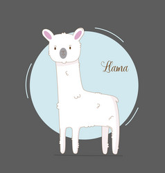 cute hand drawn llama for bagirl simple cute vector image