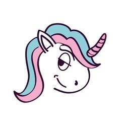 Cute unicorn drawn icon vector