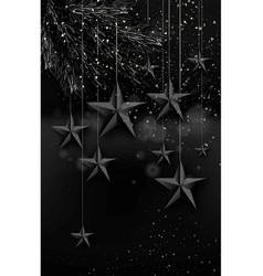 Cutout black foil paper stars on dark background vector