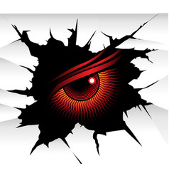 demonic eye looking through a wall fracture vector image
