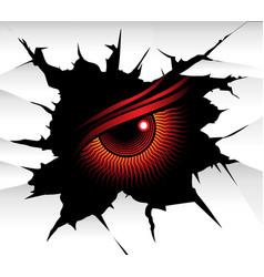 Demonic eye looking through a wall fracture vector