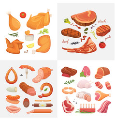 Different kind of meat food icons set raw vector
