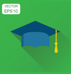 diploma student cap icon business concept finish vector image