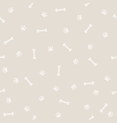 dog footprint and bone seamless patter vector image