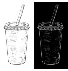 drink in paper cup with a straw hand drawn sketch vector image