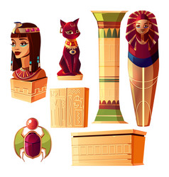 egyptian set - queen bust pharaoh vector image