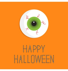 Eyeball bloody streaks happy halloween card flat vector