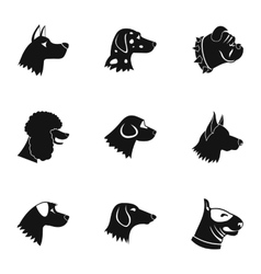 Faithful friend dog icons set simple style vector