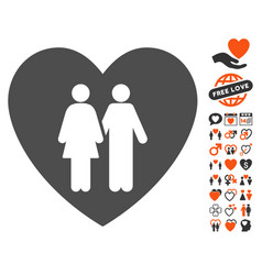 Family love heart icon with valentine bonus vector