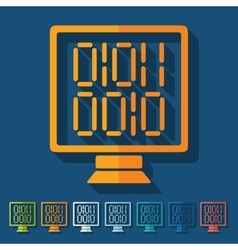 Flat design computer screen with binary vector image