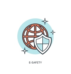 Flat lined shoeld icons web protection concept vector