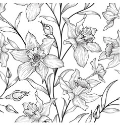 Floral seamless pattern flower doodle background vector