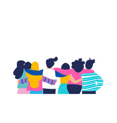 friend group hug of diverse people isolated vector image