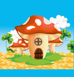 fungus house with gold coins and clovers vector image