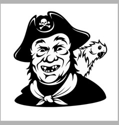 Funny smiling pirate with a parrot vector