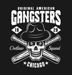 Gangster skull in hat with baseball bats on black vector