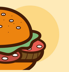 Hamburger fast food cartoon close up vector