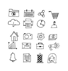 hand draw business doodles design vector image