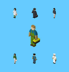 Isometric human set of detective girl pedagogue vector