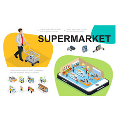 Isometric supermarket composition vector
