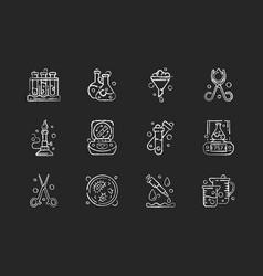 Lab equipment chalk white icons set on black vector