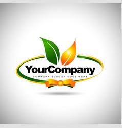 Leaf Label Logo Food vector image