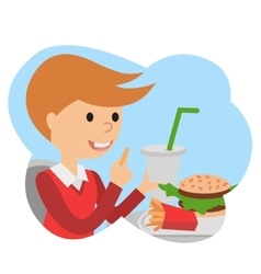 Little boy with fast food in his hands vector