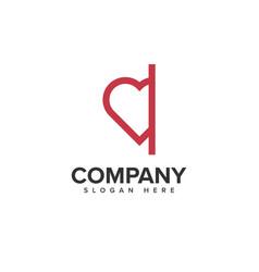 Love hide logo design vector