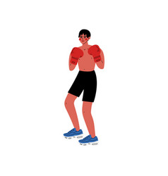 male boxer athlete character in sports uniform and vector image