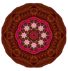 mandala brown oriental coloring book page mandala vector image