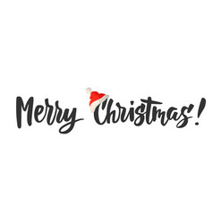 Merry christmas card hand drawn lettering great vector