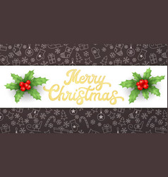 Merry christmas golden glitter xmas lettering vector