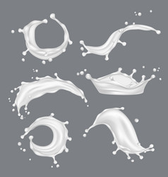 milk splashes white drop liquid fresh food from vector image